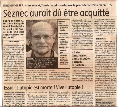 Affaire Seznec, interview de Denis Langlois, La Montagne, 2006.